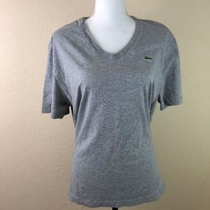 Womens Lacoste Gray Tshirt Logo Small Short Sleeve